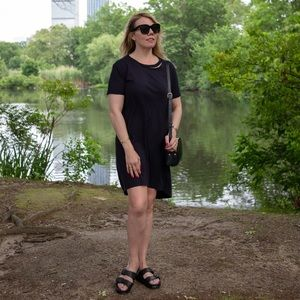 Topshop black short sleeve  hi-lo T-shirt dress 6